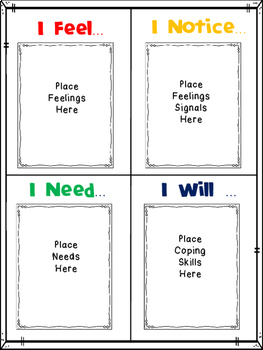 Expressing Feelings, Needs, and Identifying Coping Skills Worksheets