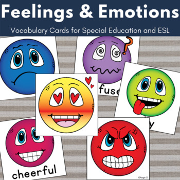 Feelings and Emotions Vocabulary Cards, Special Ed, Autism