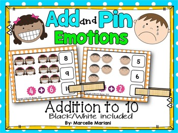 Feelings and Emotions- Add and Pin Task Cards- Math Center