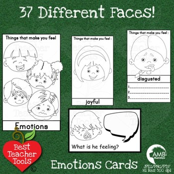 Feelings and Emotions Cards, Multicultural Kids Black-line Clipart, AMB-2346