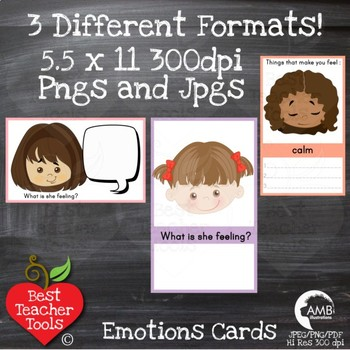 Feelings and Emotions Cards, Multicultural Kids Clipart, AMB-2339