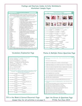 Feelings and Emotions Combo Activity Worksheets
