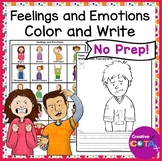 Feelings and Emotions Identification Coloring and Sentence Writing Worksheets