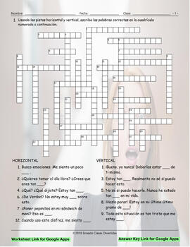 Feelings and Emotions Interactive Spanish Crossword-Google Apps