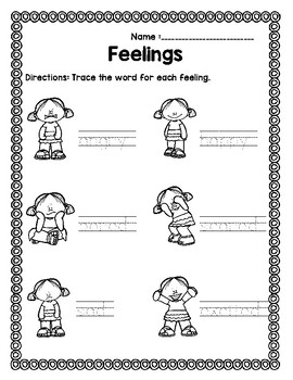Feelings and Emotions Packet in English