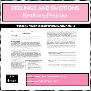 Feelings and Emotions Reading Passage