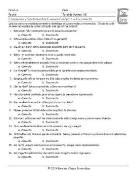 Feelings and Emotions Spanish Correct-Incorrect Exam