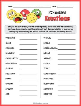 Feelings and Emotions Word Scramble