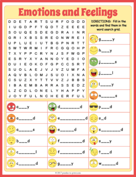 Feelings and Emotions Word Search - Emoji Activity