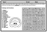 Feelings and Emotions, Word Search Puzzle Worksheet, No Prep Plan