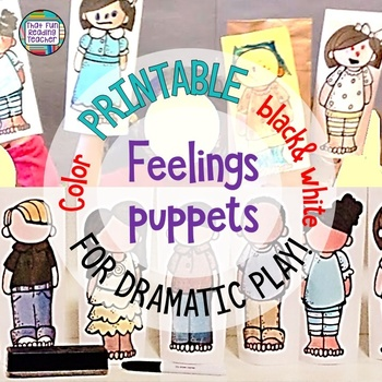 Feelings and Emotions Activities: Puppet craftivity  | Distance Learning