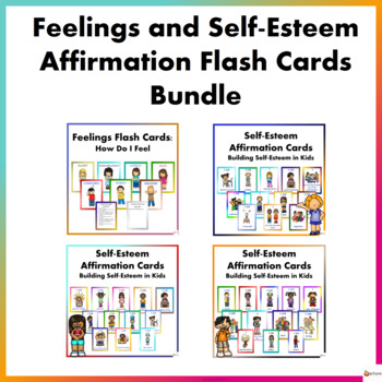 Feelings and Self-Esteem Affirmation Flash Cards Bundle