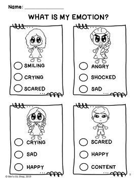 Feelings and emotions worksheets ESL - Sample version