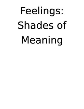 Feelings - shades of meaning