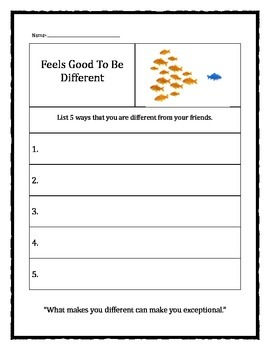 Feels Good To Be Different worksheet