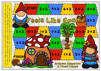Feels Like Gnome Multiplication Board Game x2 Facts