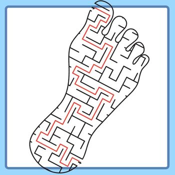 Feet / Foot Mazes with Solutions Clip Art Set Commercial Use