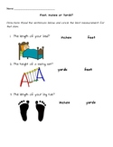 Feet, Inches or Yards Measurement Worksheet