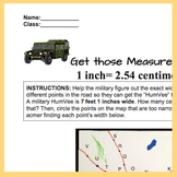 Feet to Centimeters. Converting Measurements Worksheet/quiz Army Theme 4.MD.A.1