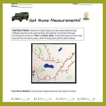 Feet to Inches. Converting Measurements Worksheet/quiz. Fun Army Theme 4.MD.A.1