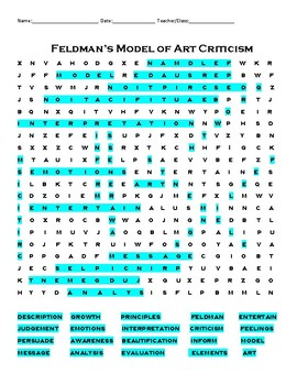 Feldman's Model of Art Criticism Word Search