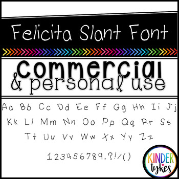 Felicita Slant Font by Kinder Tykes for Personal & Commercial Use