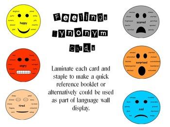 Feelings Synonym cards
