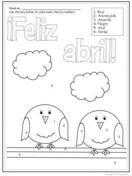 Spanish Color by Number Feliz Abril