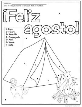 Spanish Color by Number Feliz Agosto