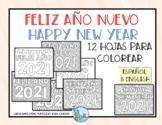 Feliz Año Nuevo 2021 hojas para colorear Happy New Year co
