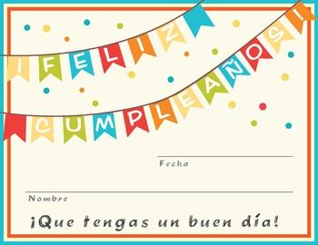Feliz Cumpleaños Certificado / Happy Birthday certificate in Spanish