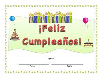Feliz Cumpleaños Printable Birthday Certificate in Spanish