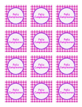 """Feliz Cumpleanos"" pink/purple party tags"
