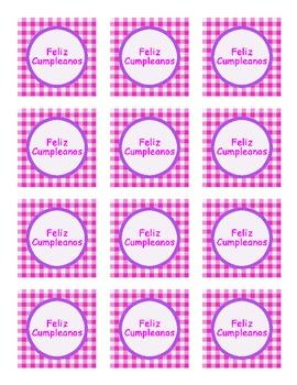 """Feliz Cumpleanos"" pink/purple party tags"