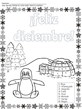 Spanish color by number Feliz Diciembre