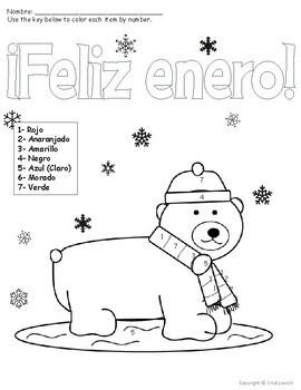 Spanish Color by Number Feliz Enero