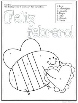 Feliz Febrero- Spanish Color by Number