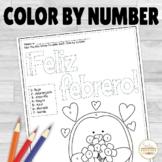 Spanish Color by Number Feliz Febrero