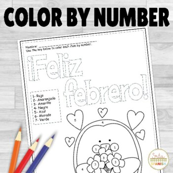 Spanish Color by Number Feliz Febrero
