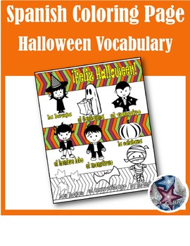 Feliz Halloween Vocabulary - Fall Spanish Adult Coloring Pages