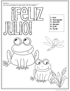 Feliz Julio- Spanish Color by Number