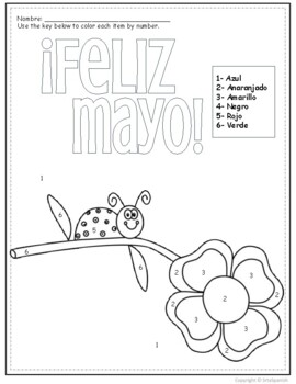 Spanish Color by Number Feliz Mayo