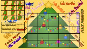 Feliz Navidad Boggle Digital and Printable (Google Classroom Ready)