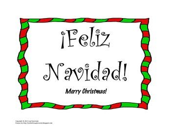 Feliz Navidad Christmas Bulletin Board in Spanish for your