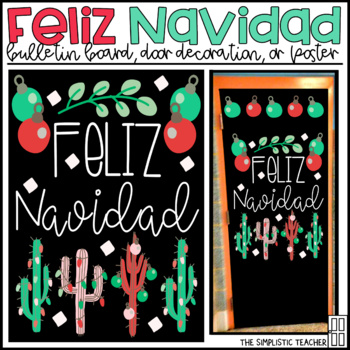 Feliz Navidad Merry Christmas Bulletin Board, Door Decor, or Poster
