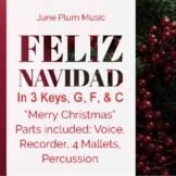 Feliz Navidad / Merry Christmas - Orff.  Voice, Recorder,