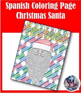 Feliz Navidad Santa - Merry Christmas Spanish Adult Coloring Page