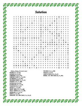 Feliz Navidad Word Search- Harder 20 Words
