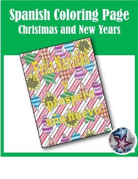 Feliz Navidad/prospero año nuevo- Merry Christmas Spanish Adult Coloring Page