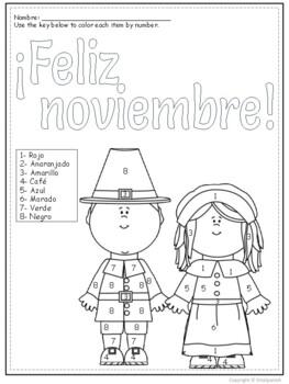 Feliz Noviembre- Spanish color by number